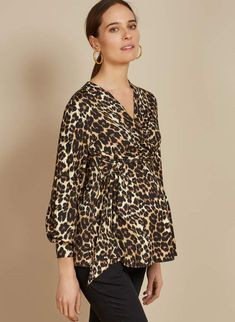 Katelyn Top in Brown at Isabella Oliver. Discover the leading British maternity fashion brand for chic, premium quality maternity clothes. Fall Maternity, Stylish Maternity, Maternity Fashion, Maternity Clothing, Maternity Outfits, Leopard Outfits, Fashion Brand, Chic, Blouse