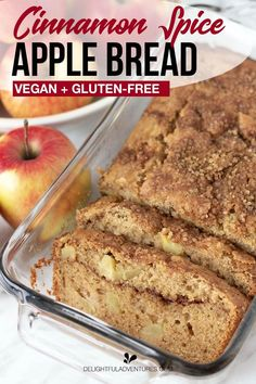A super easy recipe for vegan apple bread that's not only vegan, but vegan gluten free. This moist, homemade loaf is dai Vegan Dessert Recipes, Gf Recipes, Vegan Sweets, Apple Recipes Vegan Gluten Free, Recipes For Apples, Gluten Free Bread Recipe Easy, Dairy Free Bread, Vegan Gluten Free Breakfast, Apple Cinnamon Bread