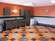 Harley Davidson inspired garage/man cave! Gotta love it!