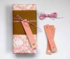 pink heart gift tag set 5pak valentines  bridal by magdalenarose, $2.00