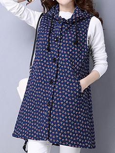 Sale 13% (29.89$) - Vintage Print Hooded Sleeveless Thick Women Loose Vest Coat