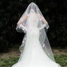 2016 Hot Sale Long Veils For Weddings 3 Meters Long Pink Flowers Bridal Veil Wedding Veil