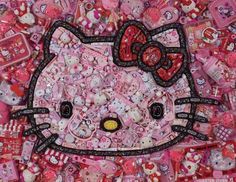 awesome mosaic hello kitty made out of hello kitty stuff. lol.