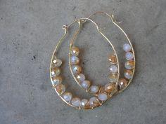 Brass Hoop Earrings Wire Wrap Gold Crystal Earrings Hammered Big Hoops Minimalist November Birthstone SydneyAustinDesigns by SydneyAustinDesigns on Etsy