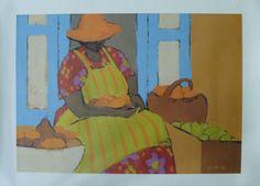 Vintage Art Caribbean Market Scene by St. Martin Artist Gloria Lynn Quality Print 1986 TROPICAL/Island