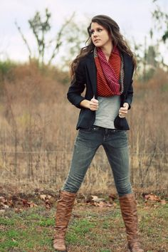 Navy-Blue Blazer + Red scarf