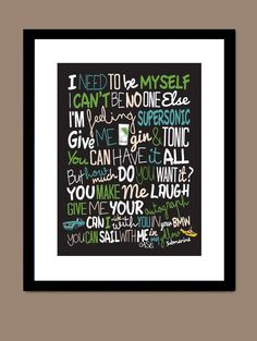Oasis  Supersonic / Song Lyric Typography Poster by CreativePrint, £10.00