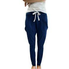 Allegra K Ladies Adjustable Drawstring Waist Slant Front Pockets Cropped Pants Navy Blue XS Allegra K. $10.56