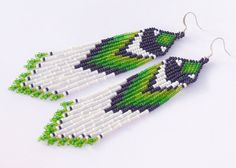 Native American Earrings Inspired. Green White Black Earrings. Dangle Earrings. Beaded Jewelry