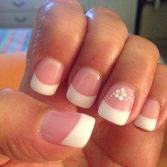 Pink and white acrylic nails by Tina