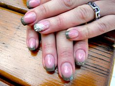 #glitter french #nails with white #butterfly