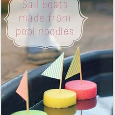 Easy sail boat kids craft from pool noodles! Put a mark on the bottom of the sail boat for a great summer kids game! Kids Crafts, Craft Activities For Kids, Summer Crafts, Summer Activities, Toddler Activities, Projects For Kids, Games For Kids, Diy For Kids, Preschool Water Activities