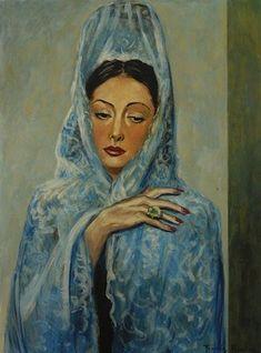 Femme à la mantille bleue, par Francis Picabia