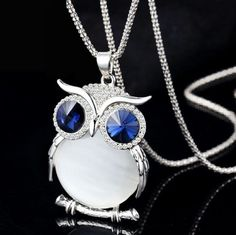Crystal Owl Long Necklace & Chain
