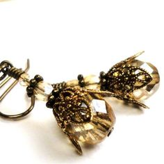 Brass Jewelry  Vintage Victorian Jewelry Earrings  by pink80sgirl, $26.00