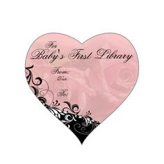"""For Baby's First Library"" Book Plate Heart Sticker"