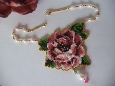 Pink rose- necklace,lena-style,unicat!