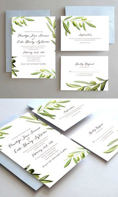 Unique Wedding Invitation Set // Watercolor Olives & Leaves // Mediterranean Olive Branch Illustration // Design by Oakhouse on Etsy