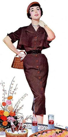 Bolero jacket over cinched waist dress and matching chapeau. Reinvent sans gloves and pearls.