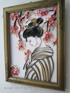 *QUILLING ~ The painting mural drawing sakura blossoms Paper Quilling Paper strips image 2