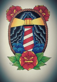 Traditional tattoo flash, traditional roses, lighthouse