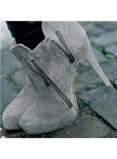 Fashionable Gray Nubuck Double Zipper Decoration Ankle Boots