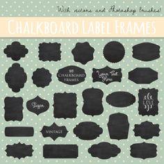 Vintage Chalkboard Labels Clip Art // Vector Layered EPS editable // Photoshop Brush Stamp // Printable // Digital Frame // Instant Download...
