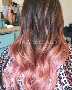 Wavy, pink, strawberry, balayage, ombre, long blended hair!  #hairbychancedarcy rose gold. Peach.