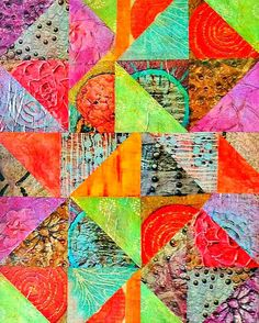 COLORFUL! 8 x 10 Paper Picture Photo Collage Print 126 Artwork Art Abstract Triangles Squares Red Yellow Blue Green Orange Vibrant Mosaic by Concepts2Canvas on Etsy