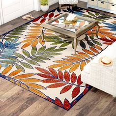 Beachcrest Home Farley Floral / Flower Gold/Green/Blue Indoor/Outdoor Area Rug Rug Size: Rectangle x , Aqua Area Rug, Orange Area Rug, Navy Blue Area Rug, White Area Rug, Beige Area Rugs, Yellow Rug, White Rug, Pink Yellow, Outdoor Rug Sale