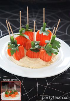 Pumpkin Patch Hummus and Carrot Appetizer. with pre-bagged and cut carrots. They have ridges and are different shapes, kinda like pumpkins ;-) Still yummy but now you don't have to cut the carrots! Halloween Snacks, Healthy Halloween Treats, Halloween Goodies, Halloween Fun, Halloween Dinner, Holidays Halloween, Healthy Treats, Fall Recipes, Holiday Recipes