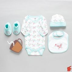 "Baby Girl 'The Butterflies"" Set  An adorable set in a gift box for your little loved ones, this butterfly printed aqua-colored set will make your daughter look simply charming.  Made from 100% cotton, set contains a romper with envelope neck, a cap, a bib and booties with embroidery, packed in a gift box with a ribbon.  #Winter #Christmas #cute #Pretty #Adorable #BabyGirl #Butterflies #Flowers #Springbunny"