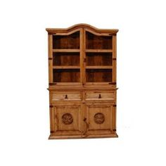 2 Pc Small China Cabinet w Stars Carving