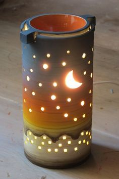 Moon and Stars.pottery ideas for beginners Ceramic Lantern, Ceramic Candle Holders, Ceramic Light, Slab Pottery, Ceramic Pottery, Pottery Art, Ceramics Projects, Clay Projects, Beginner Pottery