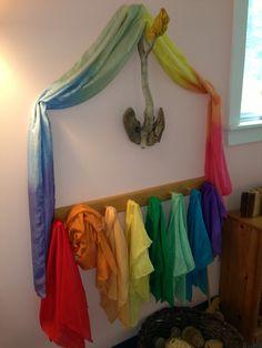 silks on display in the nursery classroom. Classroom Walls, School Photos, Montessori, Color Mixing, Kid Stuff, Toddlers, Nursery, Display, Activities