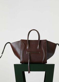 Medium Luggage Phantom Handbag in Shiny Grained Calfskin - Céline
