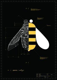 Engineering Design Inspiration / gépésztet / méhészet on the Behance Network Gfx Design, Graphic Design, Tom Y Jerry, Bee Illustration, Plakat Design, Design Graphique, Illustrations And Posters, Book Cover Design, Creative Art