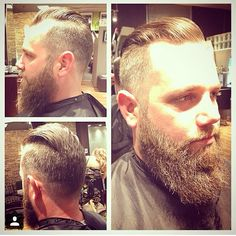 Side Part Haircut  And Long Beard   Awesome style, one of the trendiest haircuts now a days.   Trendy Haircut for Men  Long Beard  SidePart