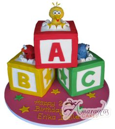 Elmo cake with abc blocks my cake creations pinterest for Abc cake decoration
