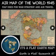 It's a map. There are many different types of maps. Most are flat. The globe is the only map that can accurately and proportionally show the entire world. Terre Plate, Flat Earth Proof, Earth Memes, Hollow Earth, Projection Mapping, Air Travel, Antarctica, Planet Earth, Vintage World Maps