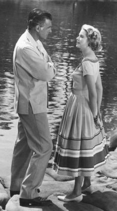"""Grace Kelly and Stewart Granger on the set of Green Fire"""""""