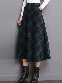 High Waist Pocket Plaid Woolen Big Hem Skirt ideen for teens frauen shorts outfits Long Plaid Skirt, Plaid Skirts, Casual Skirts, Women's Casual, Black Women Fashion, Womens Fashion, Cheap Fashion, Boho Fashion, Fashion Outfits