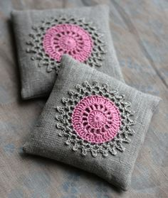 Two lovely lavender linen and crochet sachets from etsy seller namolio.