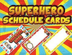 Superhero Themed Schedule Cards *EDITABLE* - 17 Print ready pre-made PDF…