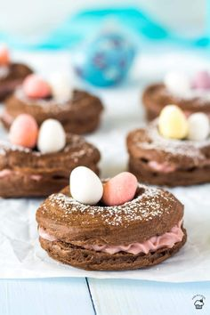 Easter Cocoa Raspberry Choux Pastry Donuts Easter Cocoa choux pastry donuts with frozen raspberry filling and chocolate eggs Donut Recipes, Pastry Recipes, Best Dessert Recipes, Holiday Recipes, Baking Recipes, Frugal Recipes, Kinds Of Desserts, Easy Desserts, Creative Desserts