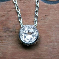 White topaz solitaire necklace  December birthstone by metalicious, $78.00
