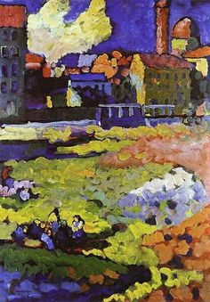Wassily Kandinsky was born in 1866. This is 'Munich-Schwabing with the Church of St. Ursula' (1908).