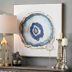 Indigo Watercolor Geode Framed Canvas Art Print | Kirklands