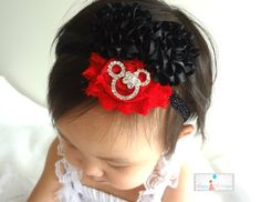 Red Minnie Mouse Headband, Baby girls Minnie headband, newborn headbands, baby headbands, infant headbands, Photography props