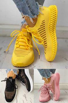 Damen Masche Atmungsaktiv Geschnürt Perforiert Sneakers - Hints for Women Mode Outfits, Casual Outfits, Fashion Outfits, Womens Fashion, Belted Shirt Dress, Tee Dress, Funky Shoes, Casual Sneakers, Platform Sneakers